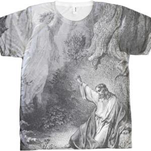 Jesus in Garden with Angel All Over T-shirt